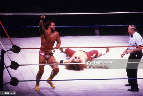 Randy 'Macho Man' Savage signals number one during his WWF match with Sika circa 1987 at the Madison Square Garden in New York New York