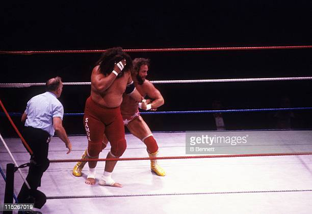 Randy Macho Man Savage wrestles with Sika during their WWF match circa 1987 at the Madison Square Garden in New York New York