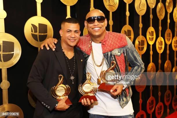 Randy Malcom and Alexander Delgado from Gente de Zona pose with their awards at Univision's 29th Edition of Premio Lo Nuestro A La Musica Latina at...
