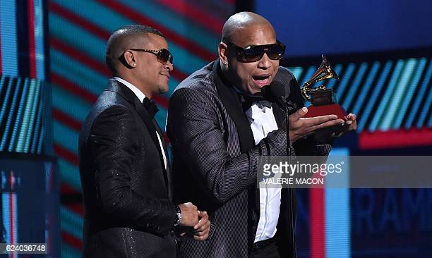 Randy Malcom Martinez and Alexander Delgado of Gente de Zona accept the award for Best Tropical Fusion Album during the show of the 17th Annual Latin...