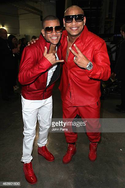 Randy Malcom Martinez and Alexander Delgado of Gente de Zona attend the 2015 Premios Lo Nuestros Awards at American Airlines Arena on February 19...