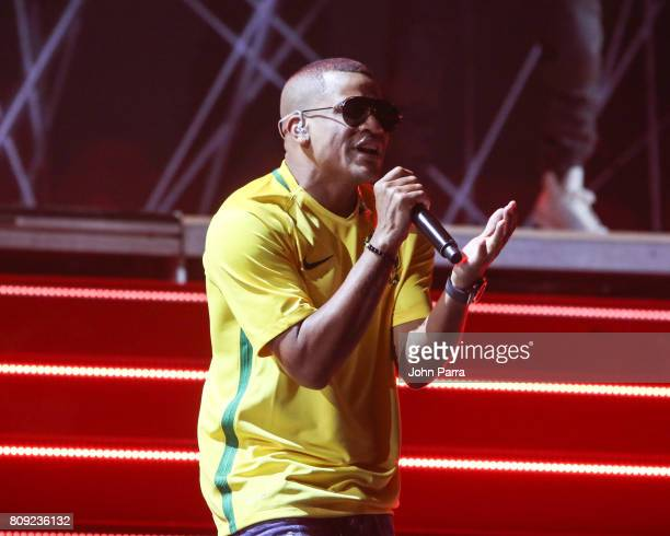 Randy Malcom of Gente de Zona a rehearses on stage during Univision's 'Premios Juventud' 2017 Celebrates The Hottest Musical Artists And Young...