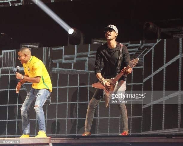 Randy Malcom of Gente de Zona and Motiff rehearses on stage during Univision's 'Premios Juventud' 2017 Celebrates The Hottest Musical Artists And...