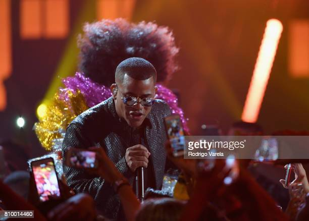 Randy Malcom performs on stage during Univision's 'Premios Juventud' 2017 Celebrates The Hottest Musical Artists And Young Latinos ChangeMakers at...