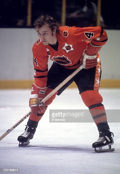Randy Manery of the Atlanta Flames and Team West waits for the faceoff during the 26th NHL AllStar Game against Team East on January 30 1973 at the...