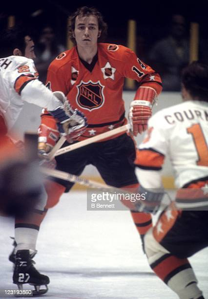 Randy Manery of the Atlanta Flames and Team West watches the play develop during the 26th NHL AllStar Game against Team East on January 30 1973 at...