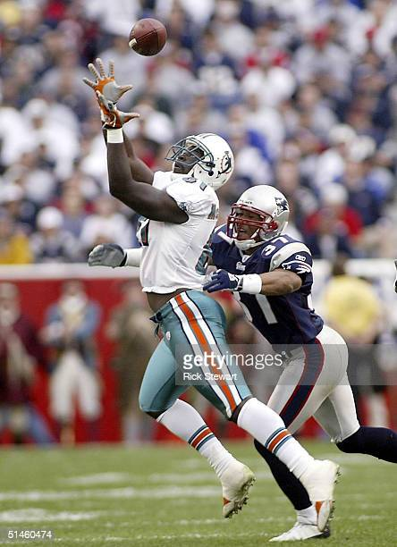 Randy McMichael of the Miami Dolphins attempts to make a catch, but Rodney Harrison of the New England Patriots breaks it up on October 10, 2004 at...