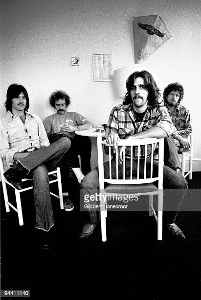 Randy Meisner, Bernie Leadon, Glenn Frey and Don Henley of The Eagles pose for a group portrait in London in 1973.
