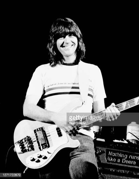 Randy Meisner of The Eagles performs on stage at the Wembley Arena, London, England, on 26 April 1977.
