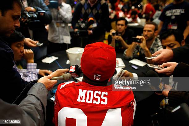 Randy Moss of the San Francisco 49ers addresses the media during Super Bowl XLVII Media Availability at the New Orleans Marriott on January 31 2013...