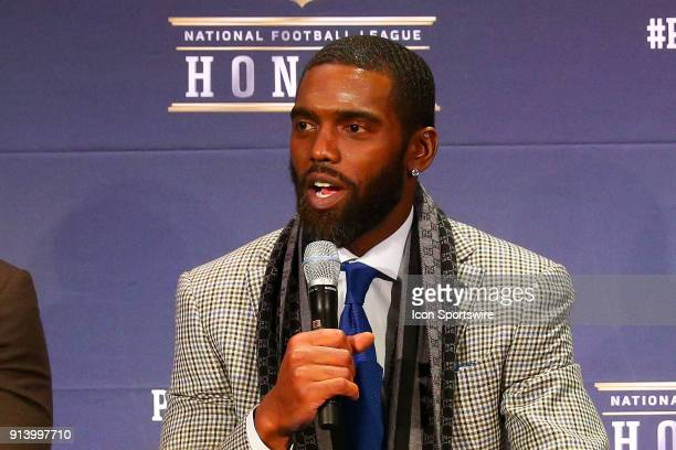 Randy Moss selected to the Pro Football Hall of Fame at NFL Honors during Super Bowl LII week on February 3 at Northrop at the University of...