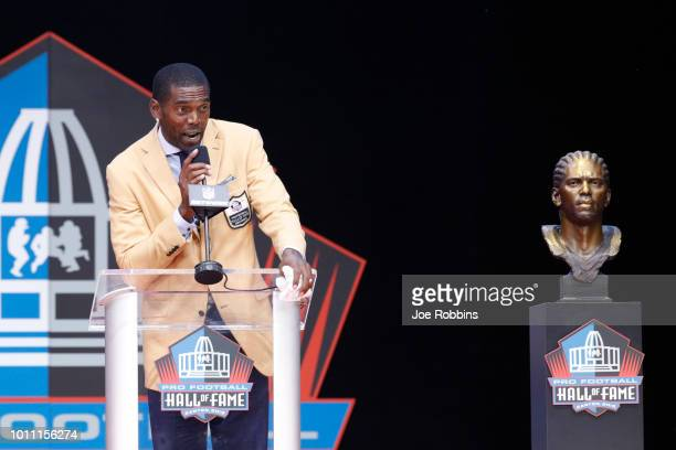 Randy Moss speaks during the 2018 NFL Hall of Fame Enshrinement Ceremony at Tom Benson Hall of Fame Stadium on August 4 2018 in Canton Ohio