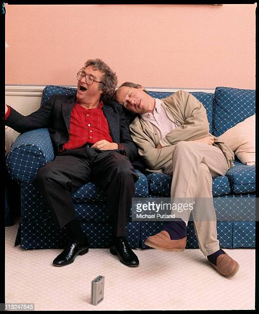 Randy Newman and Mark Knopfler of Dire Straits sleeping and yawning during an interview London 1988