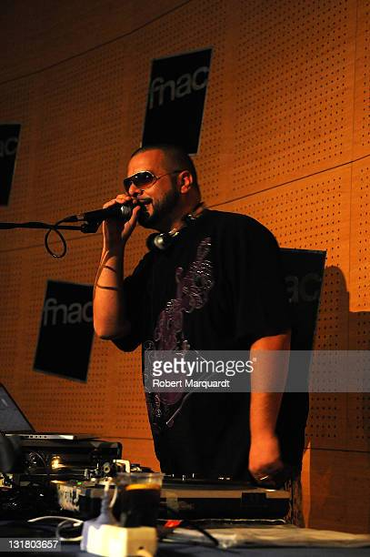 DJ Randy of Tote King performs at FNAC Triangle for promoting their latest disc 'El lado oscuro de Gandhi' on October 8 2010 in Barcelona Spain