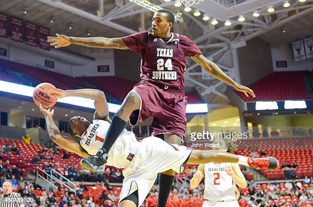 Randy Onwuasor of the Texas Tech Red Raiders is fouled by Christian McCoggle of the Texas Southern Tigers during game action on November 18 2013 at...