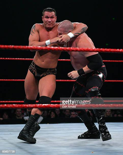 Randy Orton locks up Kane during the WWE RAW Superslam event at Acer Arena Homebush Stadium in Sydney on August 4 2006