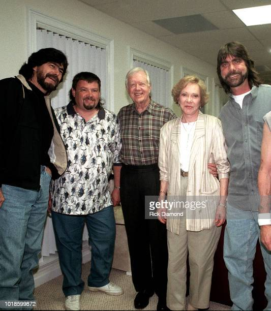 Randy Owen and Jeff Cook of Country Group Alabama Former President Jimmy Carter Former First Lady Rosalynn Carter with Teddy Gentry of Country Group...