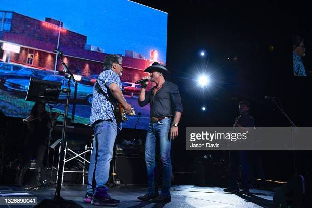 Randy Owen of Alabama and special guest Tim McGraw perform on stage during the Alabama 50th Anniversary Tour Opening Weekend at Bridgestone Arena on...