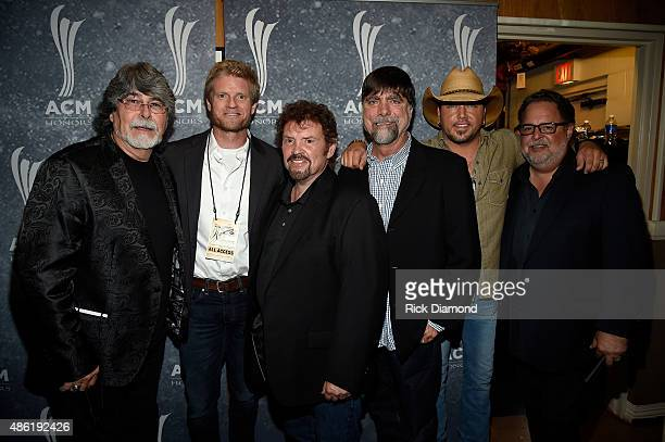 Randy Owen of Alabama Kos Weaver Jeff Cook of Alabama and Teddy Gentry Jason Aldean and Tony Conway pose backstage during the 9th Annual ACM Honors...
