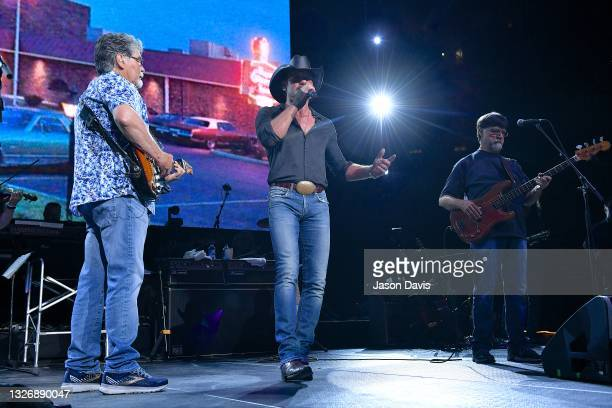 Randy Owen of Alabama, special guest Tim McGraw and Teddy Gentry of Alabama perform on stage during the Alabama 50th Anniversary Tour Opening Weekend...