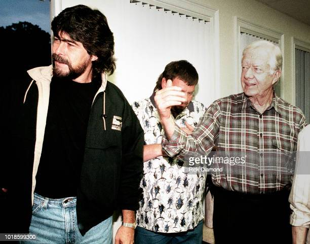 Randy Owen of Country Group Alabama and Former President Jimmy Carter backstage at Peachtree City Amphitheater Circa 1984 in Atlanta Georgia