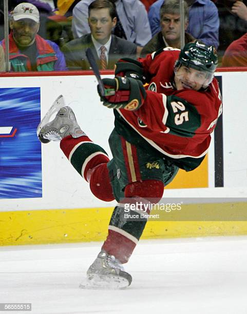 Randy Robitaille of the Minnesota Wild follows up during his second period slapshot against the Dallas Stars at the Xcel Energy Center on January 9...