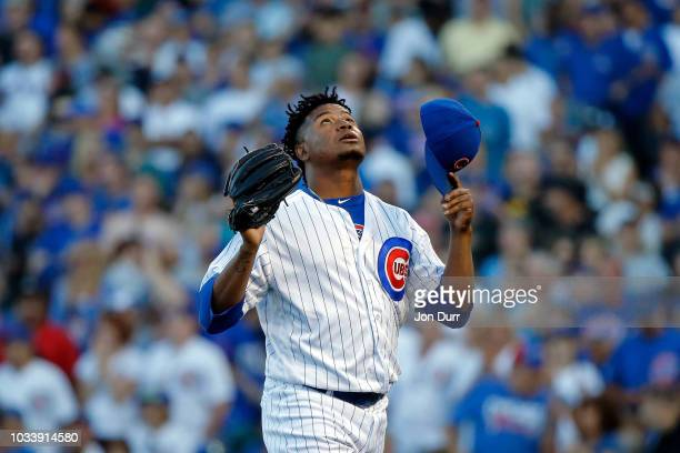 Randy Rosario of the Chicago Cubs reacts after pitching against the Cincinnati Reds during the ninth inning at Wrigley Field on September 15 2018 in...
