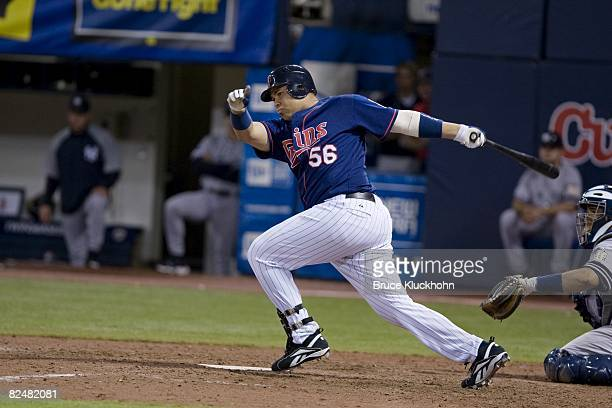 Randy Ruiz of the Minnesota Twins bats against the New York Yankees at the Humphrey Metrodome in Minneapolis, Minnesota on August 12, 2008. The...