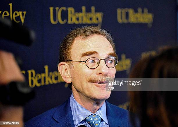 Randy Schekman is seen at a press conference at the University of California Berkeley after he was informed that he is the cowinner of the 2013 Nobel...