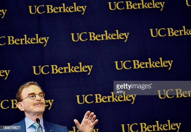 Randy Schekman speaks at a press conference at the University of california Berkeley after he was informed that he is the cowinner of the 2013 Nobel...