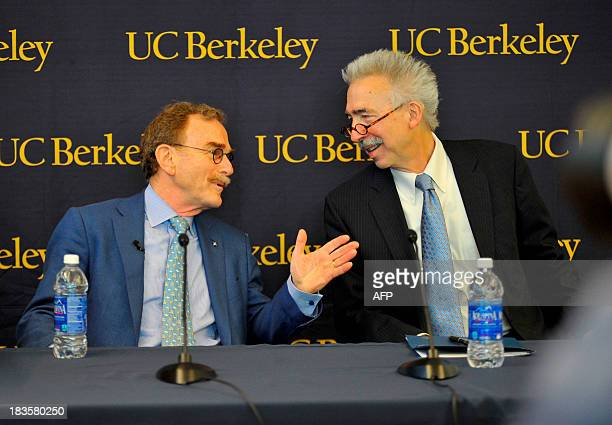 Randy Schekman speaks with Chancellor Nicholas Dirks during a press conference at the University of California Berkeley after he was informed that he...