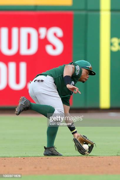 Randy Ventura of the Tortugas goes far to his left to field a ground ball during the Florida State League game between the Daytona Tortugas and the...