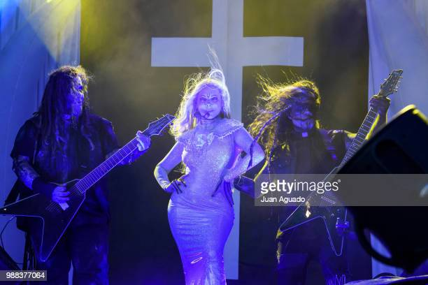 Randy Weitzel, Maria Brink and Chris Howorth of the band In This Moment perform on stage during Day 3 of the Download Festival on June 30, 2018 in...
