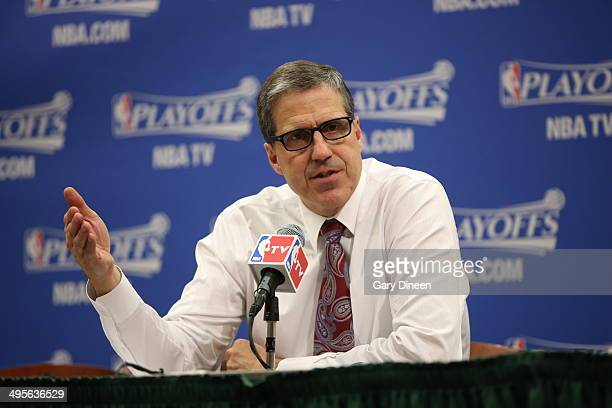 Randy Wittman of the Washington Wizards addresses the media after Game Five of the Eastern Conference Semifinals against the Indiana Pacers during...