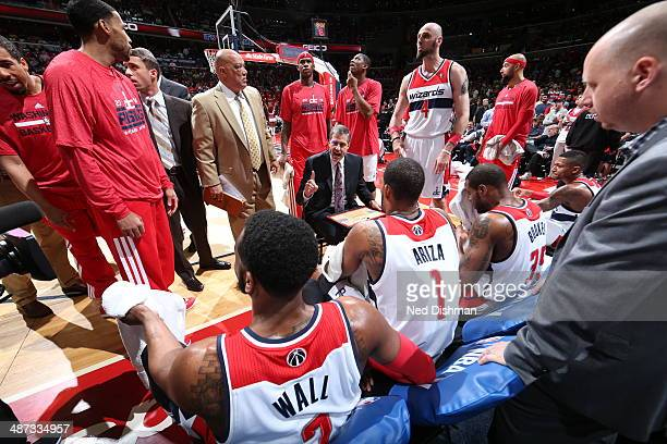 Randy Wittman of the Washington Wizards coaches against the Chicago Bulls during Game Four of the Eastern Conference Quarterfinals on April 27 2014...