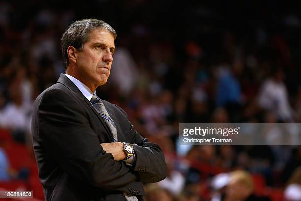 Randy Wittman of the Washington Wizards coaches from the sideline against the Miami Heat at American Airlines Arena on November 3 2013 in Miami...