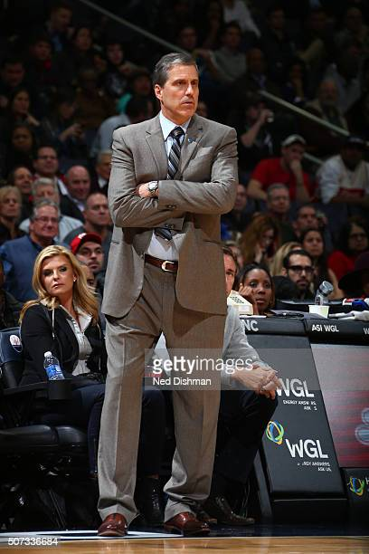 Randy Wittman of the Washington Wizards is seen during the game against the Denver Nuggets on January 28 2016 at Verizon Center in Washington DC NOTE...