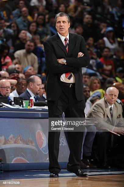 Randy Wittman of the Washington Wizards reacts during the game against the Denver Nuggets on March 23 2014 at the Pepsi Center in Denver Colorado...