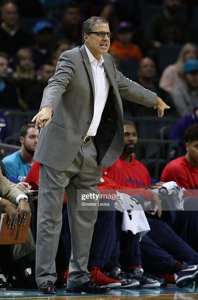 Randy Wittman of the Washington Wizards reacts from the bench during their game against the Charlotte Hornets at Time Warner Cable Arena on November 25, 2015 in Charlotte, North Carolina. NBA -