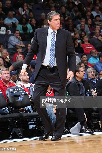 Randy Wittman of the Washington Wizards stands on the court during a game against the Brooklyn Nets on January 16 2015 at Verizon Center in...