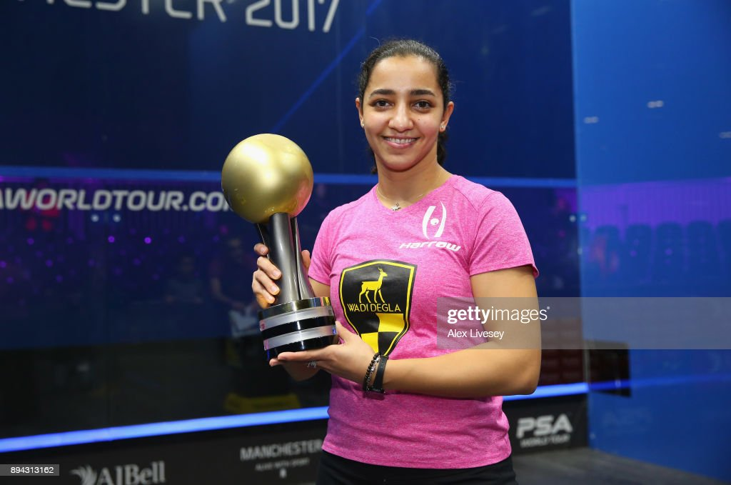 Raneem El Welily of Egypt holds the AJ Bell PSA World Squash Championships trophy after victory over Nour El Sherbini of Egypt in the Women's Final of the AJ Bell PSA World Squash Championships at the Manchester Central Convention Complex on December 17, 2017 in Manchester, England.