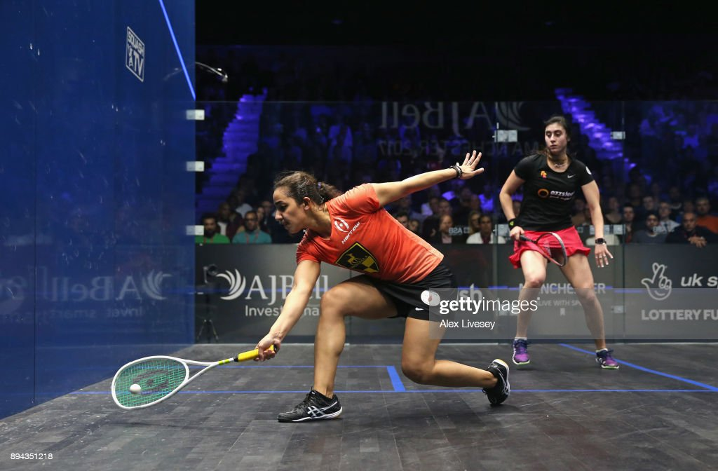 Raneem El Welily of Egypt stretches for the ball against Nour El Sherbini of Egypt during the Women's Final in the AJ Bell PSA World Squash Championships at the Manchester Central Convention Complex on December 17, 2017 in Manchester, England.