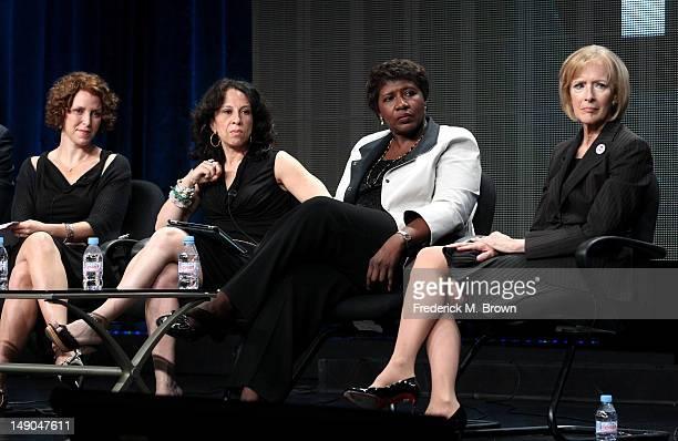 Raney Aronson Series Senior Producer Maria Hinojosa Need to Know Gwen Ifill Washington Week PBS NewsHour and Judy Woodruff PBS NewsHour speak onstage...
