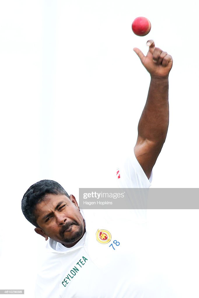 Rangana Herath of Sri Lanka bowls during day three of the Second Test match between New Zealand and Sri Lanka at Basin Reserve on January 5, 2015 in Wellington, New Zealand.