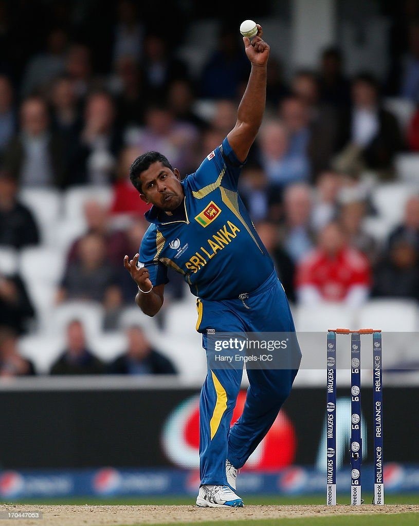 Rangana Herath of Sri Lanka bowls during the ICC Champions Trophy group A match between England and Sri Lanka at The Kia Oval on June 13, 2013 in London, England.