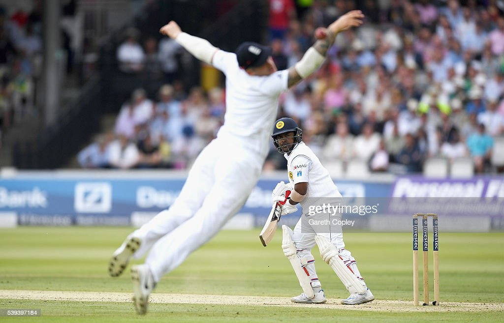 Rangana Herath of Sri Lanka hits past Alex Hales of England during day three of the 3rd Investec Test match between England and Sri Lanka at Lord's Cricket Ground on June 11, 2016 in London, United Kingdom.