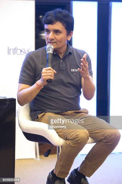 Ranganath D Mavinakere chief financial officer of Infosys Ltd speaks during a news conference in Bengaluru India on Friday April 13 2018 Infosys...