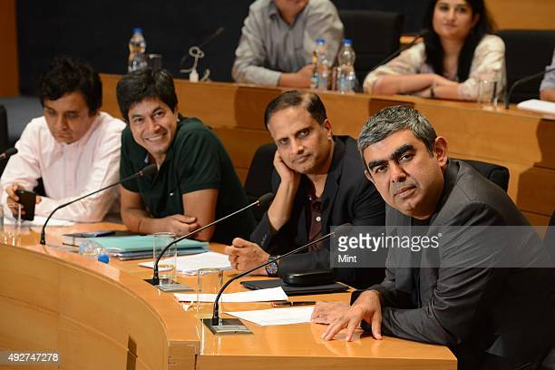MD Ranganath new CFO Rajiv Bansal EVP and CFO U B Pravin Rao COO and Vishal Sikka CEO and MD Infosys during a media brief on Infosys Q2 results on...