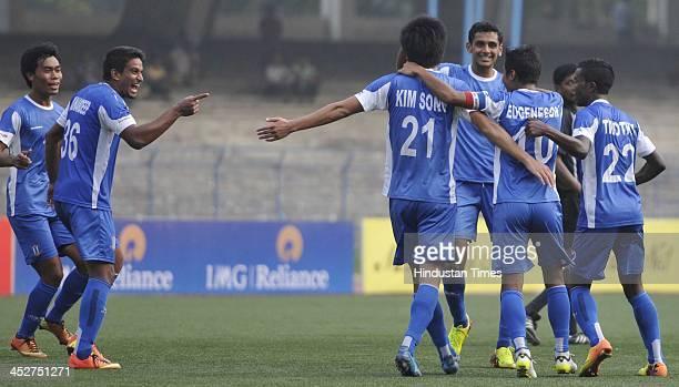 Rangdajied United FC player Munmun Eugeneson Lyngdoh celebrate after scoring against Mohun Bagan during the ILeague Match at Vivekananda Yuba Bharti...