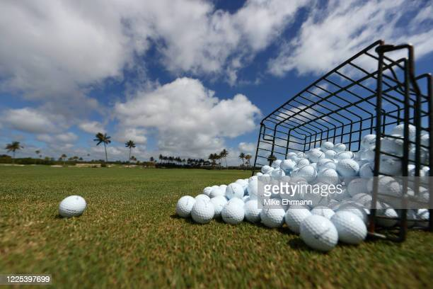 Range balls sit ready prior to the TaylorMade Driving Relief Supported By UnitedHealth Group on May 17, 2020 at Seminole Golf Club in Juno Beach,...